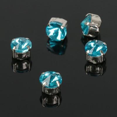 Стразы в цапах (набор 5 шт), 6*6мм, цвет ярко-голубой в серебре