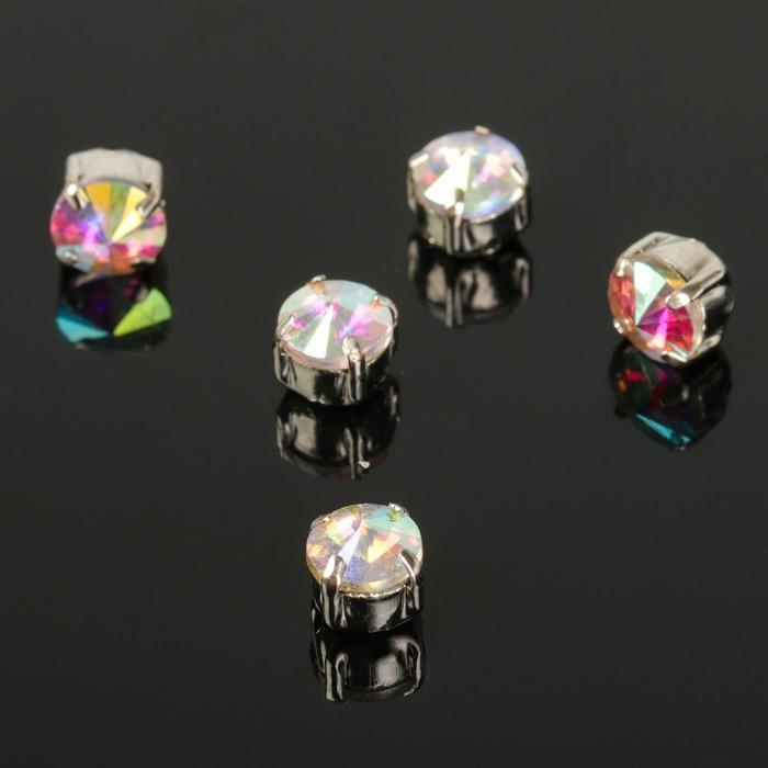 Стразы в цапах (набор 5 шт), 6*6мм, цвет радужный в серебре - фото 698597