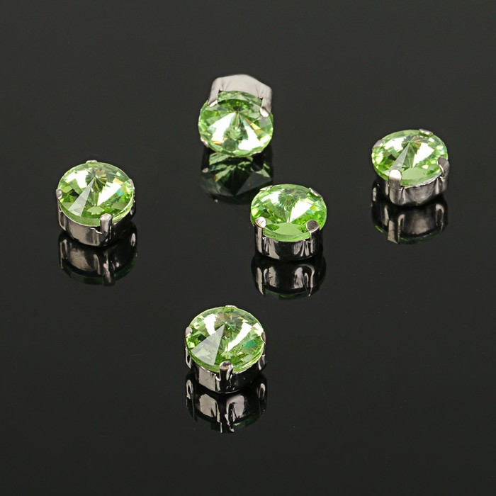 Стразы в цапах без отверстий (набор 5 шт), 8*8мм, цвет светло-зеленый в серебре