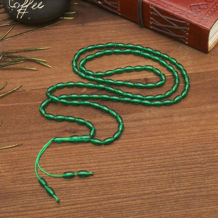 Чётки, рис 0,9x0,5, цвет зелёный, 99 бусины, 54 см