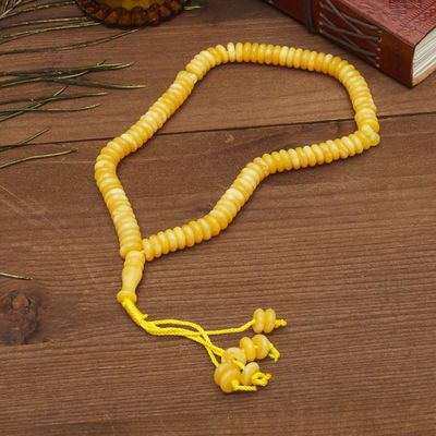 Чётки, кукуруза 0,9x0,3, цвет под молочный янтарь, 99 бусин 30 см