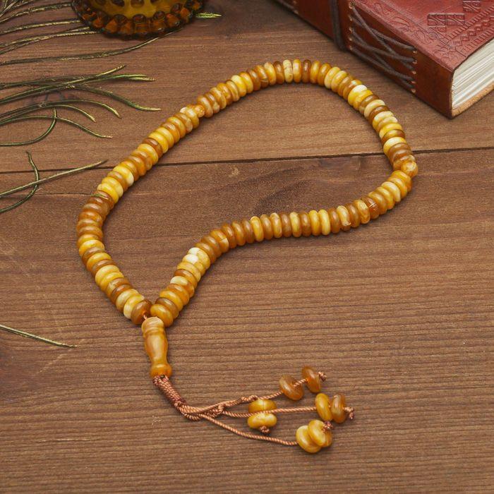 Чётки, кукуруза 0,9x0,3, цвет под янтарь, 99 бусин, 30 см