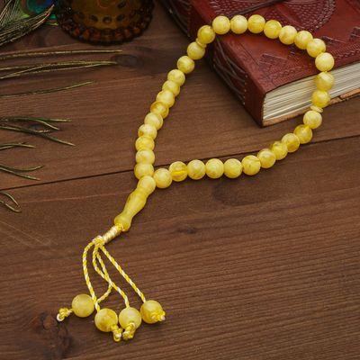 Чётки, шар №12, цвет под молочный янтарь, 33 бусины