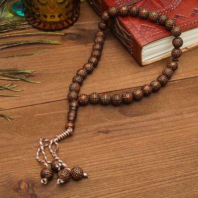 Чётки, шар №12 с гравировкой, цвет тёмно-коричневый, 33 бусины, 31 см