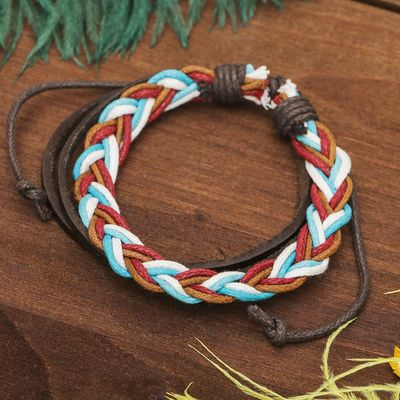 "Bracelet leather ""Pigtail"" of 3 strands, color"