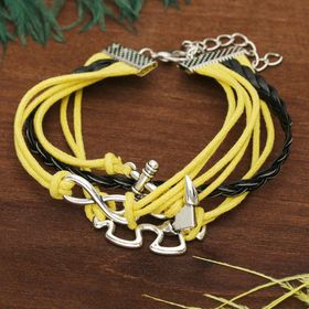 """Bracelet leather """"Magic characters"""" puzzle, 4 strands, color black-yellow"""