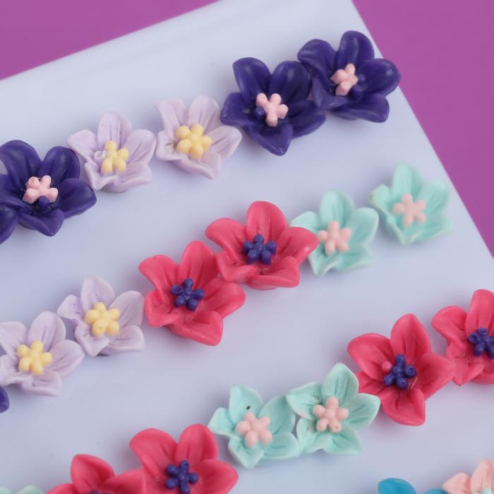 "Пусеты 36 пар ""Цветы"", цвет МИКС - фото 504818872"