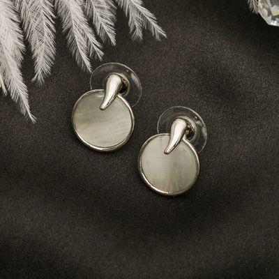 """Серьги """"Круг"""" мини, цвет белый в серебре"""
