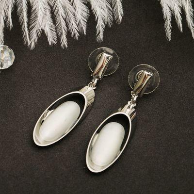 """Серьги """"Овал"""" преображение, цвет белый в серебре"""