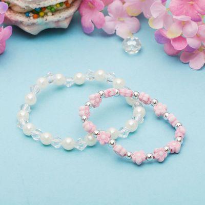 """Набор детских браслетов """"Выбражулька"""" 2 нити, цветы и жемчуг, цвет бело-розовый"""