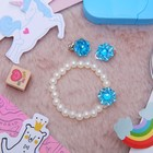 Children set 2 pieces: wristband, clip-on earrings, mother-of-pearl flower, MIX color