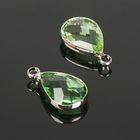 Подвеска (набор 4 шт), 10*14мм, цвет светло-зеленый в серебре