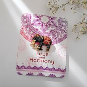 """Брошь """"Слон индийский"""", цвет красно-серый в золоте"""