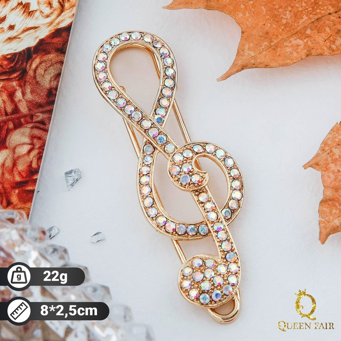 """Брошь """"Скрипичный ключ"""", цвет радужный в золоте - фото 1733929"""