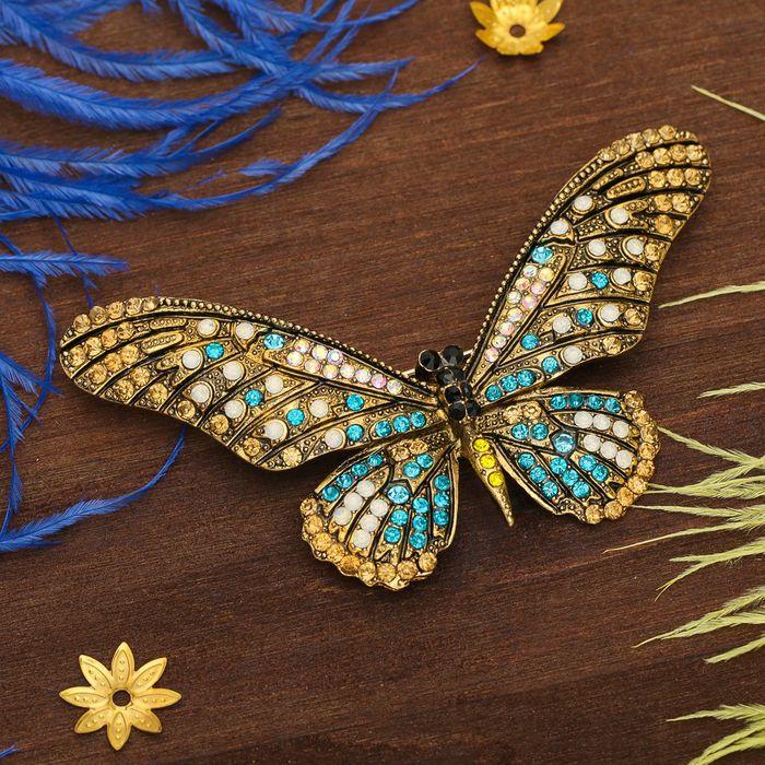 """Брошь """"Бабочка сказочница"""", коричнево-голубая в золоте - фото 419629479"""
