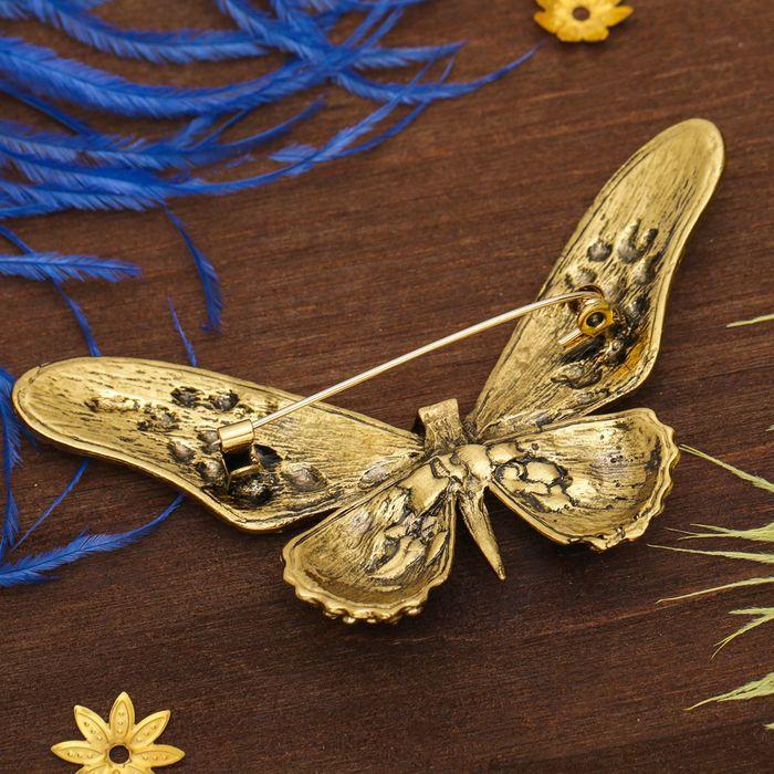 """Брошь """"Бабочка сказочница"""", коричнево-голубая в золоте - фото 419629480"""