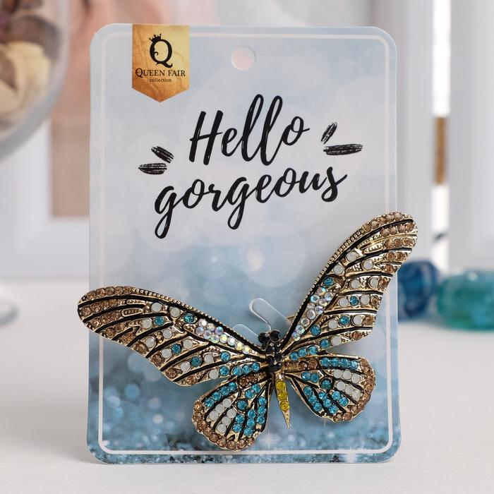 """Брошь """"Бабочка сказочница"""", коричнево-голубая в золоте - фото 419629478"""