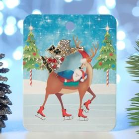 """Брошь новогодняя """"Рождественская сказка"""" ангелочек с флейтой, цветная в чернёном золоте"""