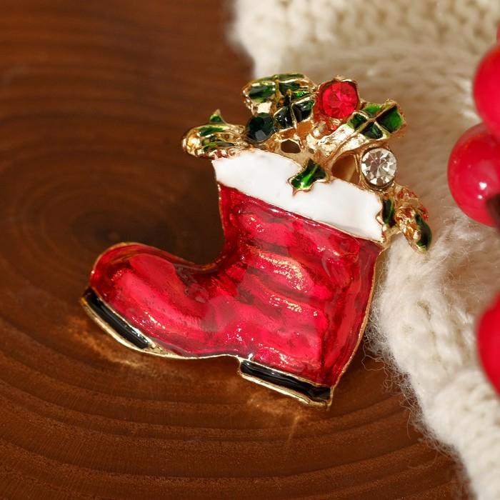 """Брошь """"Новогодняя сказка"""" сапожок праздничный, цветная в золоте"""