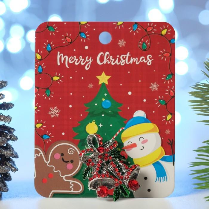 """Брошь """"Новогодняя сказка"""" колокольчики рождественские, цвет красно-зелёный в чернёном серебре"""