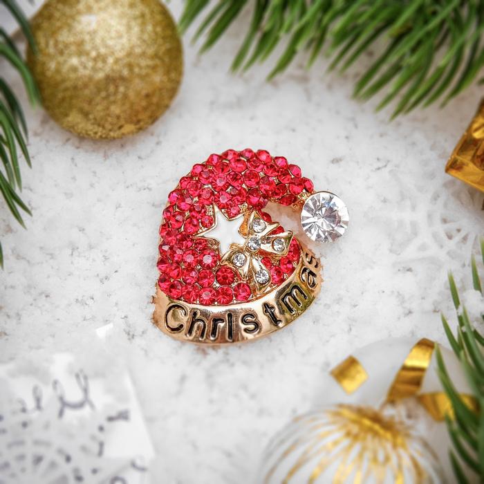 """Брошь новогодняя """"Рождественская сказка"""" колпак Санта Клауса, цвет красно-белый в золоте"""