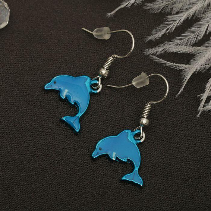 """Серьги эмаль """"Мульти"""" дельфин, цвет голубой в серебре"""