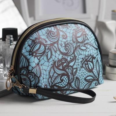 Косметичка-сумочка «Ажур», отдел на молнии, с ручкой, цвет голубой