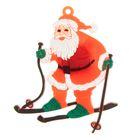 """Значок световой """"Дед Мороз"""" на лыжах"""