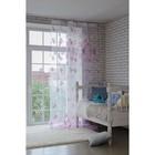 """Тюль """"Этель"""" Цветы лета (цвет розовый) без утяжелителя, ширина 135 см, высота 270 см"""