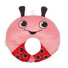 Подушка дорожная детская «Божья коровка» для шеи, цвет розовый