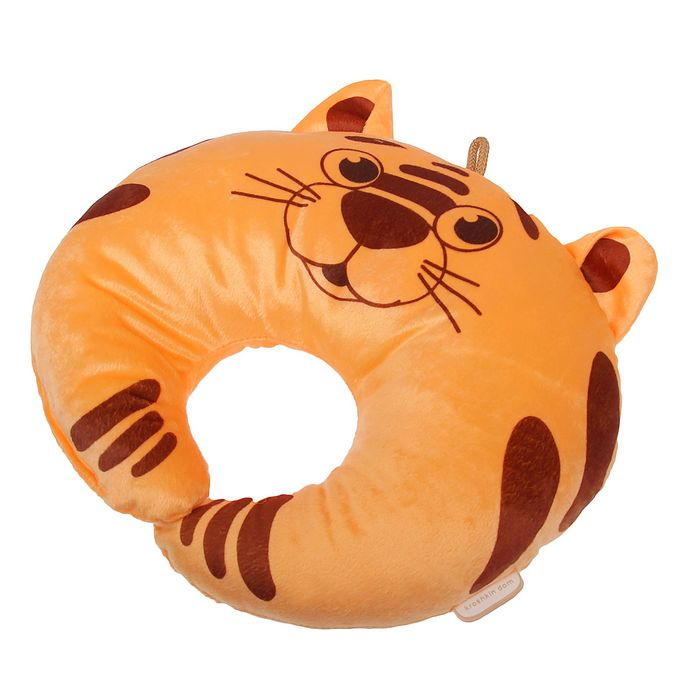 Подушка дорожная детская «Тигрёнок» для шеи, цвет оранжевый
