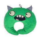 Подушка дорожная детская «Монстрик» для шеи, цвет зелёный