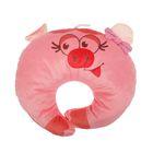 Подушка дорожная детская «Свинка» для шеи, цвет розовый