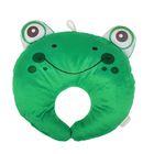 Подушка дорожная детская «Лягушка» для шеи, цвет зелёный