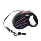 Рулетка Flexi Design L (до 50 кг) 5 м лента, черная/розовый горошек