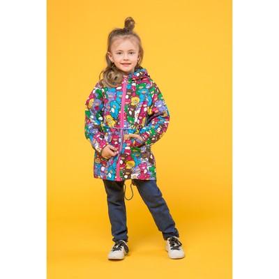 Куртка для девочки, рост 104 см, принт мишки