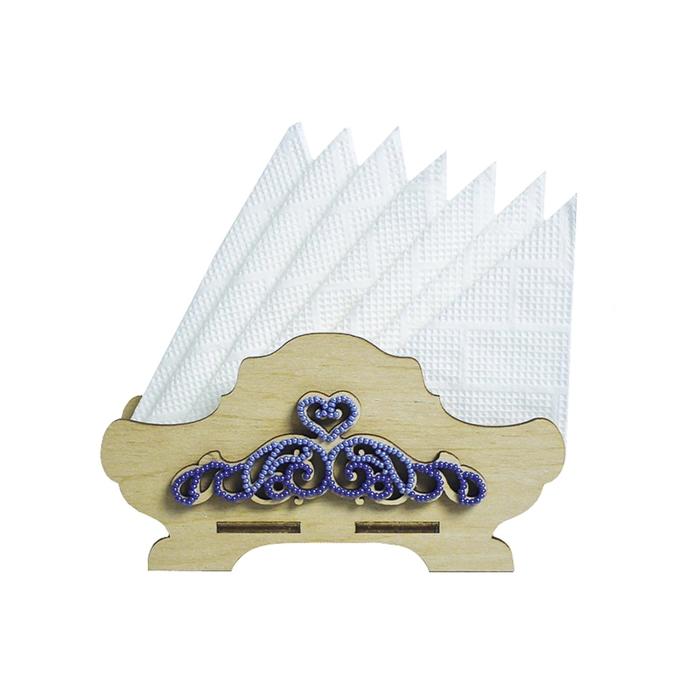 Набор для изготовления салфетницы из фанеры с бисером, 15.8x8.2x4.7 см