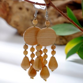 "Earrings handmade, wooden ""Cloud"", color light brown"