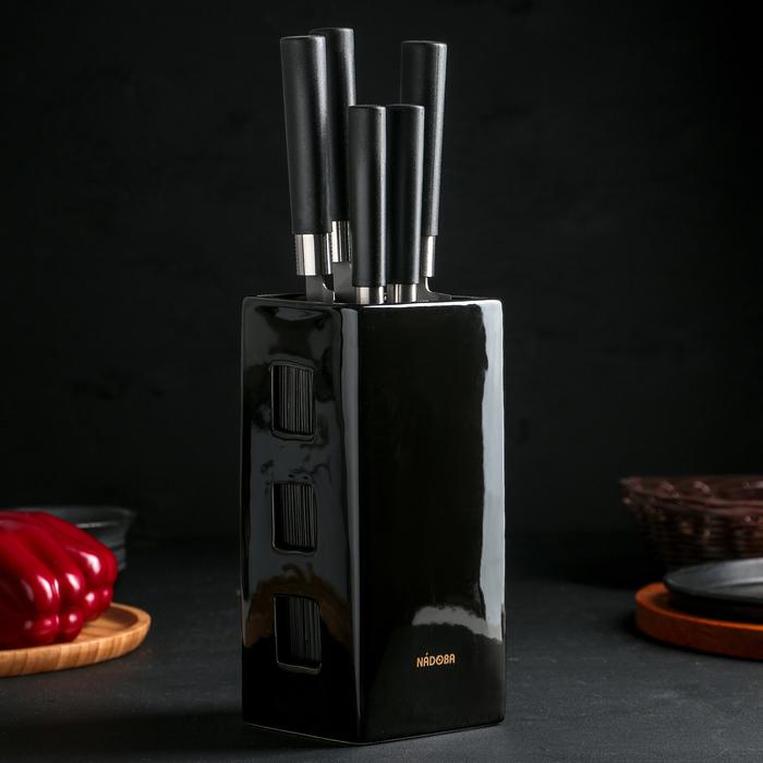 Набор кухонных ножей «KEIKO», 5 предметов, с универсальным блоком, цвет чёрный