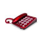 Телефон Texet TX 262, проводной, регулятор громкости звонка, большие кнопки, красный