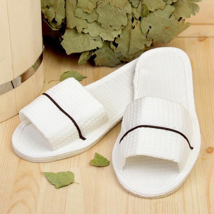 Тапочки для сауны, белые, с кантом, размер 41-42