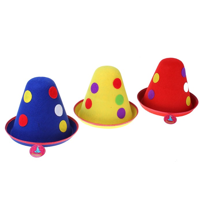 """Карнавальная шляпка """"Клоун"""" с цветным горохом, р-р 56-58, цвета МИКС"""