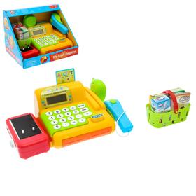 """Касса """"Играем в магазин"""", жёлтая, со сканером, корзиной и аксессуарами"""