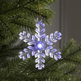 Игрушка световая 'Снежинка' (батарейки в комплекте), d=8 см, 1 LED, RGB 725688 Ош