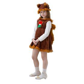 """Карнавальный костюм """"Белочка"""", шапочка, платье с хвостом, 3-5 лет, рост 104-116 см"""