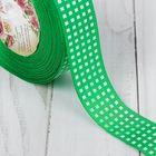 Лента репсовая «Клетка», 25 мм, 22 ± 1 м, цвет зелёный