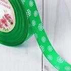 Лента репсовая «Цветочки», 15 мм, 22 ± 1 м, цвет зелёный