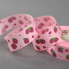 """Лента репсовая """"Клубника"""", 25мм, 22±1м, цвет розовый"""
