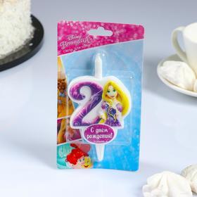 """Свеча для торта цифра """"Disney. Принцессы"""" """"2"""" сиреневая"""