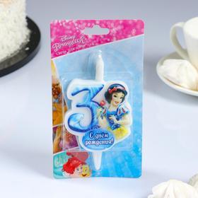 """Свеча для торта цифра """"Disney. Принцессы"""" """"5"""" синяя"""